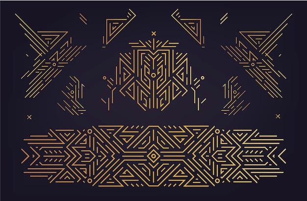 아트 데코 디자인 요소의 벡터 집합입니다. 황금 구분선, 책 머리글 장식 패턴입니다. 1920년대와 30년대 빈티지 럭셔리 요소. 기하학적 스타일 일러스트 라인의 고립 된 세트