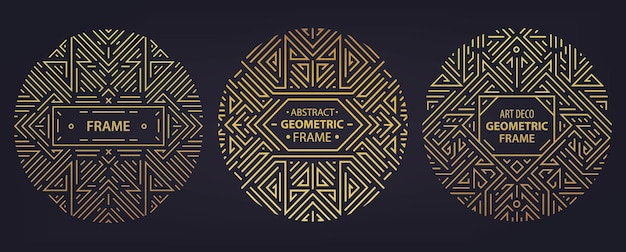 아트 데코 프레임, 가장자리, 고급 제품에 대한 추상 기하학적 디자인 템플릿의 벡터 집합입니다. 선형 장식 작곡, 빈티지. 포장, 브랜딩, 장식 등에 사용하십시오.