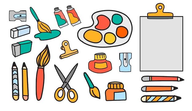 Векторный набор художественных красок канцелярские каракули стиль