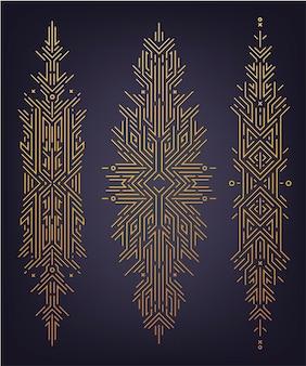 Векторный набор абстрактных линейных форм, золотые баннеры в стиле ар-деко, разделители, элементы дизайна декора