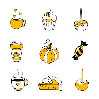Векторный набор осенних иконок. коллекция элементов каракули уютного осеннего сезона. яркий фон для сбора урожая. осенняя открытка. векторная иллюстрация