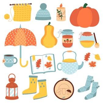 Векторный набор осенних иконок тыквы падающих листьев варенье медовая свеча гербарий чашка и чайник Premium векторы