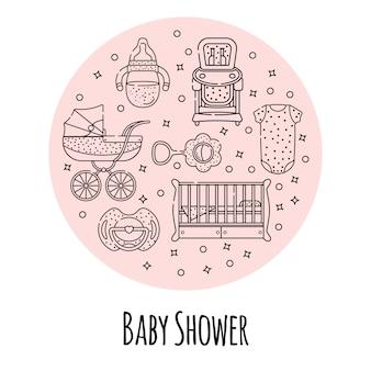 Векторный набор детских аксессуаров для новорожденного