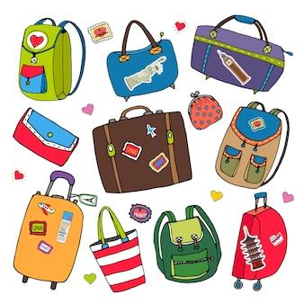 Векторный набор сумок, рюкзаков и чемоданов. векторная иллюстрация путешествия