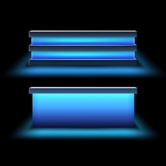 白い背景で隔離の明るい青色のバックライト正面図とバーカウンターのベクトルセット