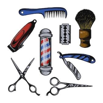 理髪店の属性要素と消耗品のベクトルセット