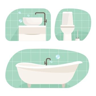 浴室用家具のベクトルセット。お風呂、洗面台、シャワー、トイレ。フラットインテリアデザインの家のアイコン