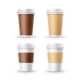 白い背景で隔離のティーコーヒーの空白の大きな小さな白い黄土色の紙の段ボールカップのベクトルセット。ファストフード