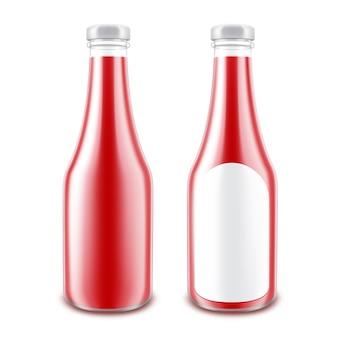 ブランディングのための空白のガラス光沢のある赤いトマトケチャップボトルのベクトルを設定