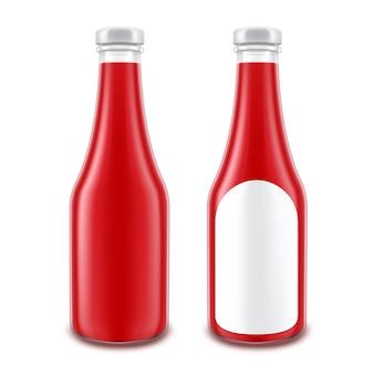 ブランディングのための空白のガラス赤いトマトケチャップボトルのベクトルを設定