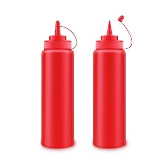 Векторный набор пустых пластиковых красных бутылок томатного кетчупа для брендинга без этикетки на белом