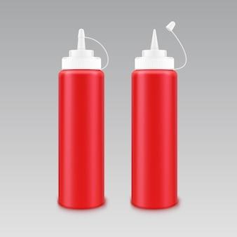 Векторный набор пустых пластиковых белых красных бутылок томатного кетчупа для брендинга без этикетки на белом