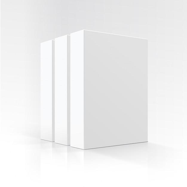 빈 흰색 수직 직사각형 판지 상자의 벡터 세트