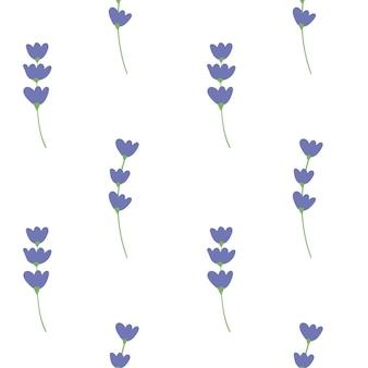 흰색 바탕에 녹색 잎이 있는 푸른 꽃의 벡터 세트 여름 봄 가을 원활한 패턴