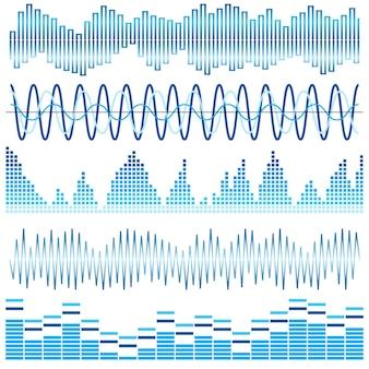 青い音波のベクトルセット。オーディオイコライザー。白い背景で隔離の音波とオーディオ波。