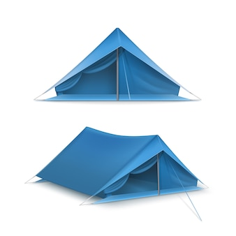 白い背景で隔離の旅行やキャンプ用の青い観光テントのベクトルセット