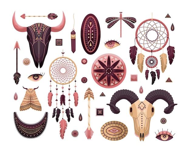 自由奔放に生きるイラストのベクトルセット。フラットスタイル。 dreamcathers、動物の頭蓋骨、羽と矢