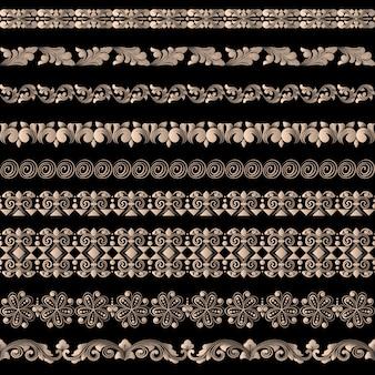 境界要素とページ装飾要素のベクトルを設定します。ボーダー装飾要素パターン。民族の境界線はベクトルイラストです。
