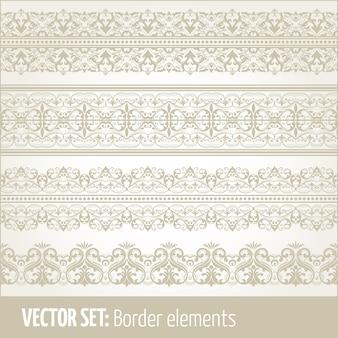 테두리 요소 및 페이지 장식 요소 벡터 세트. 테두리 장식 요소 패턴. 민족 테두리 벡터 일러스트.