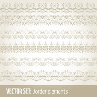 Векторный набор элементов границы и элементов оформления страницы. пограничные элементы орнаментов. векторные иллюстрации.