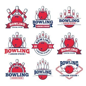 Векторный набор боулинг логотипов, эмблем и элементов дизайна. шаблоны логотипов и значки
