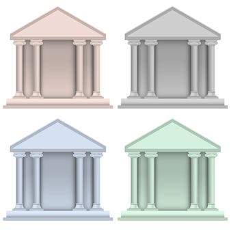 銀行アイコンの建物のベクトルを設定
