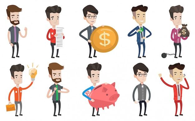 Векторный набор деловых персонажей.