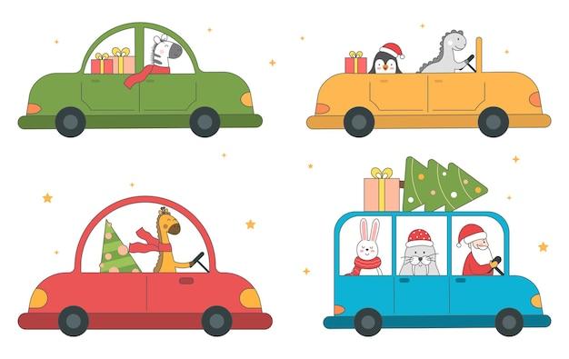 車の冬の背景にスカーフとギフトと漫画面白いクリスマス動物のベクトルセット