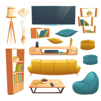 リビングルームの漫画の家具のベクトルを設定