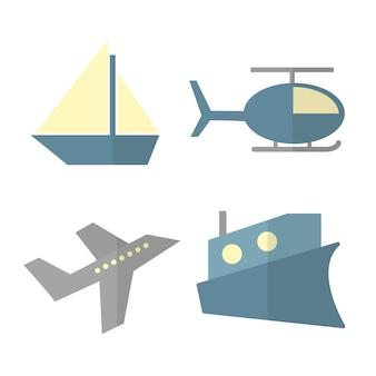 Векторный набор мультяшного транспорта, изолированные на белом - корабль, вертолет, самолет, пароход