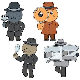 Векторный набор кошачьего детектива