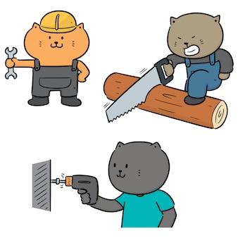 Векторный набор кошек использовать строительный инструмент