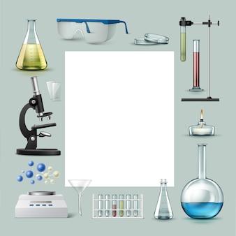 化学実験装置の試験管、着色された液体のフラスコ、ガラス、ペトリ皿、アルコールバーナー、光学顕微鏡、漏斗、天びん、テキストの場所のベクトルセット背景に分離