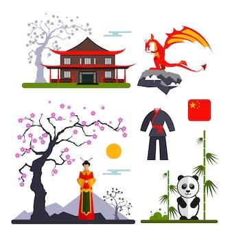 Векторный набор символов китая с драконом, женщина в кимоно, панда и китайский дом. иллюстрация с китаем изолированные объекты.