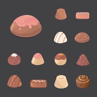 チョコレート菓子のベクトルセット。暗い背景の漫画illustartion。
