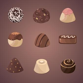 チョコレートの異なるキャンディーのベクトルセット