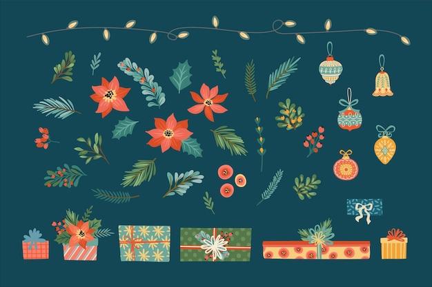 Векторный набор рождественских цветочных элементов