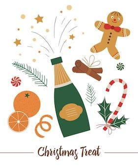 分離されたシャンパンとクリスマス食品要素のベクトルセット。装飾や新年のデザインのためのおいしい伝統的な御馳走とフラットスタイルのイラスト。