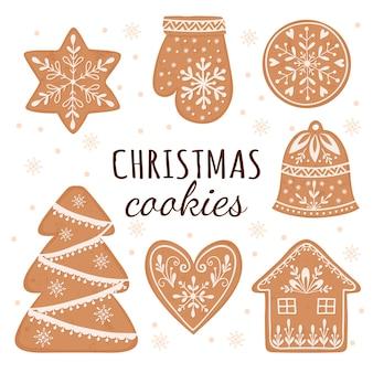 クリスマスジンジャーブレッドクッキーハウスジンジャーブレッドマンスタースノーフレークのベクトルセット
