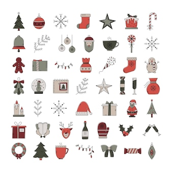 クリスマスアイコンのベクトルを設定します。カラーアウトライン新年。