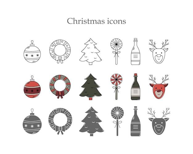 3つのスタイルのクリスマスアイコンのベクトルセット。ラインアート、シンプルなスタイルと色のアウトライン。