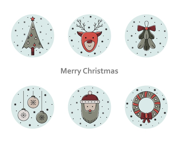 クリスマスイラストのベクトルセット。新年の色のアウトラインアイコン。