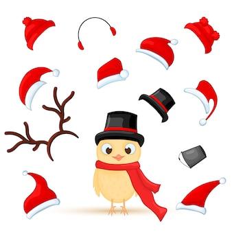 さまざまな感情を持つクリスマスフクロウのベクトルセット