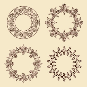 원형 프레임 장식의 벡터 세트 4 개의 타원형 장식 무늬 테두리