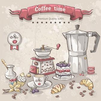 Векторный набор кофе с турками, чашкой, кофейником и различными сладостями