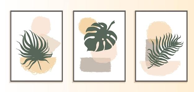 추상적 인 모양과 식물의 삽화가 있는 콜라주 현대 포스터의 벡터 세트