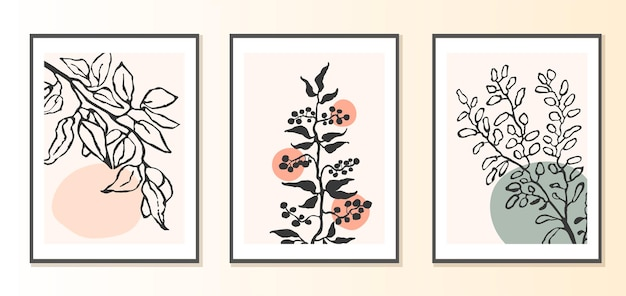 추상적인 모양과 식물의 삽화가 있는 콜라주 현대 포스터의 벡터 세트