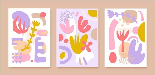 콜라주 패턴 커버, 배경, 포스터, 브로셔, 배너의 벡터 집합입니다. 손으로 그린 다양한 모양과 낙서 개체. 추상 현대 현대 유행 그림입니다. 프리미엄 벡터