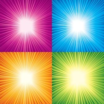 Векторный набор цветных солнечных лучей.