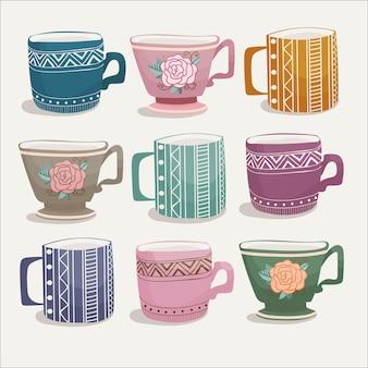 手描きスタイルの色のヒュッゲカップのベクトルセット
